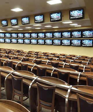 The simulcast theater at Penn National Race Course