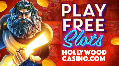 "An image of Zeus holding a lightning bolt next to the words ""Play Free Slots, HollywoodCasino.com"""